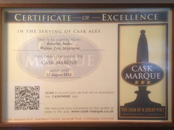 The Walnut Tree Maidstone - Cask Marque Certificate
